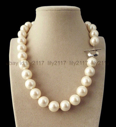 "VÉRITABLE 14 mm Blanc South Sea Shell Pearl PERLES rondes Collier 18/"" AAA"