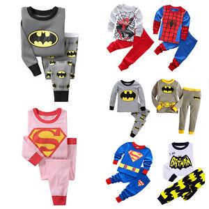 Kids-Boys-2Pcs-Pyjamas-Set-Long-Sleeve-Outfit-Sleepwear-Spiderman-Batman-Clothes