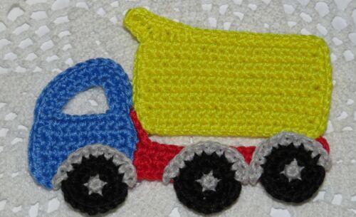 1 Pc YELLOW//BLUE Crochet Applique Dump Truck