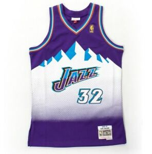 huge discount 09da8 c21a5 Details about 1996-97 Utah Jazz Karl Malone Mitchell & Ness Purple Mesh NBA  Swingman Jersey