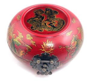 Madera-Crafted-Rojo-Brillante-Redondo-Joyeria-Caja-Dragon-Phoenix-Blessing
