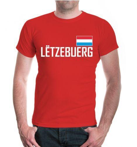 Hommes unisexe manches courtes T-shirt Luxembourg Fanshirt Drapeau Flag Maillot