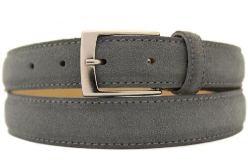 Italiana Pelle Scamosciata Cintura Uomo Donna Suede Belt Grigio in larga 3cm