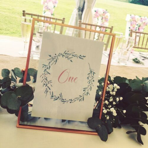 Table Numbers Rustic Floral Leaves Wedding *Frames not Included*