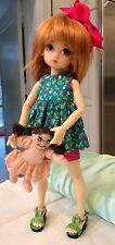 "BJD Kaye Wiggs Tiny 11"" Doll Millie Cream Skin Boneka Outfit + Shoes + Green Bag"