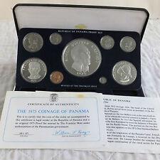 Panamá 1975 9 monedas prueba Set con 20 Balboa 5.7 OZ PLATA-Completo