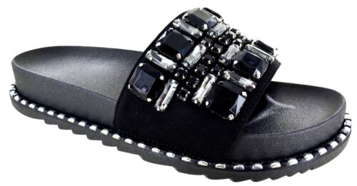 WOMENS FLAT COMFORT DIAMANTE PARTY SUMMER BEACH HOLIDAY SANDALS LADIES SHOES SZ