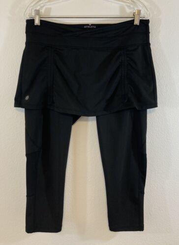 Athleta Gusset Size Large Black Leggings With Skir