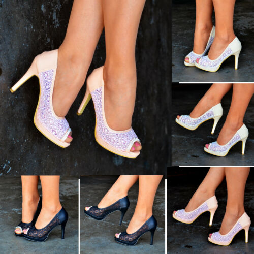 Ladies Floral Lace High Heels Peep toe Shoes Wedding Party Evening Pump Size 203