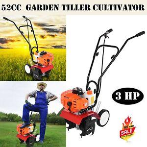 52cc 2-Stroke Garden Tiller Cultivator 3HP Gas Power Machine US Stock