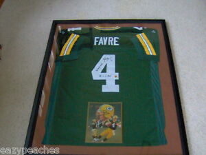 buy popular 07ca9 84584 Details about Brett Favre #4 Autographed COA Framed Reebok Packer Jersey 3  Time MVP 95 96 97