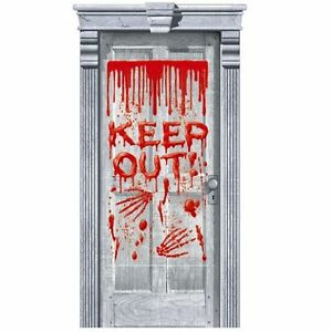 Halloween Decoration Party Bloody Door Cover Dripping Blood Keep Out 85 x 165cm