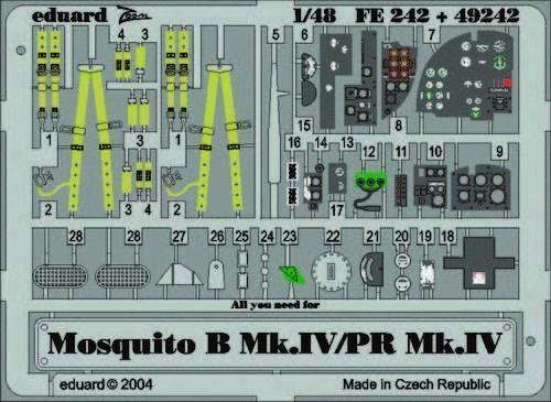 Eduard Accessories Fe242 - 1:48 Mosquito B.Mk.Iv/Pr Mk.Iv Für Tamiya Bausatz - Ä