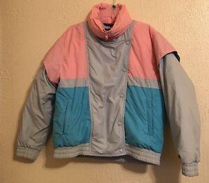 ab584d714c Vintage Women s Hermans Pastel Color Block Ski Winter Coat Size ...