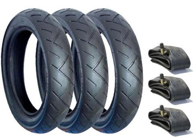 "3 x Mountain Buggy Urban 3 x 12/"" Tyres Bent Valve tubes /& Pram Tyres BLUE LINE"