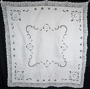 Vintage-Embroidered-Linen-Luncheon-Tablecloth-White-Work-Initial-B