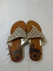 Wokens-Gold-Shimmer-Sandals-Flip-Flops-Metallic-NWT-Sz-9-10-A2