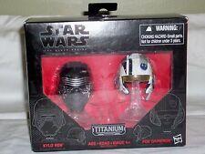 "STAR WARS ""The Black Series"" Kylo Ren & Poe Dameron Titanium Series Helmets NEW"
