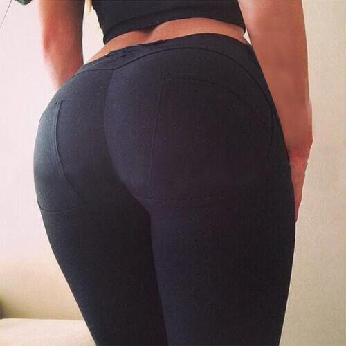 Womens Elastic Skinny Ripped Denim Jeans Leggings High Waist Pants Long Trousers