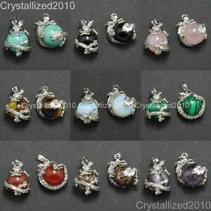 Natural-Gemstone-Dragon-Ball-Round-Reiki-Chakra-Healing-Pendant-Necklaces-Beads