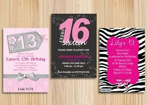 Teenage Girls Birthday Party Invitations Cards Any Age With Free