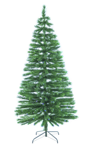 7/' Fiber Optic Green Christmas Tree with 250 Multi-Color Lights /& Stand