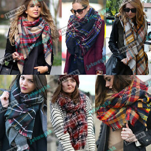 Lady-Women-Blanket-Oversized-Tartan-Scarf-Wrap-Shawl-Plaid-Cozy-Checked-Pashmina