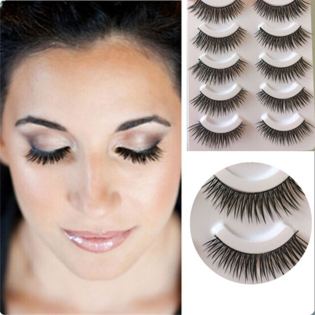 5 Pairs  Natural Makeup Handmade Eye Lash Extension Cross Thick False Eyelashes