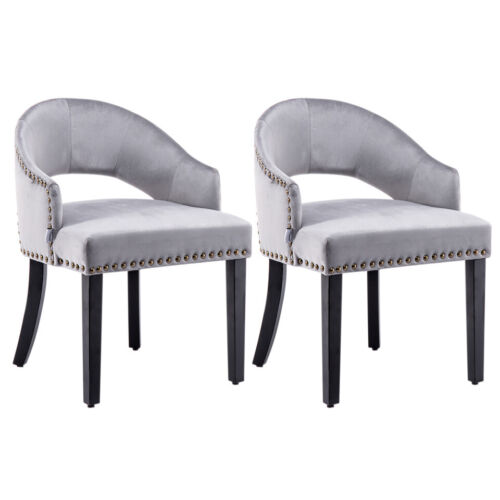 Soft Velvet Fabric Lounge Dining Chairs with Cut-out Round Backrest 3 Colours UK