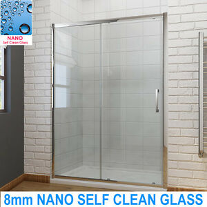 6/8mm Sliding Shower Door Enclosure Bathroom Screen Cubicle Glass & Tray & Waste