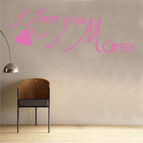 I Love You More /& Heart Decal Vinyl Wall Sticker Art Home Sayings Popular