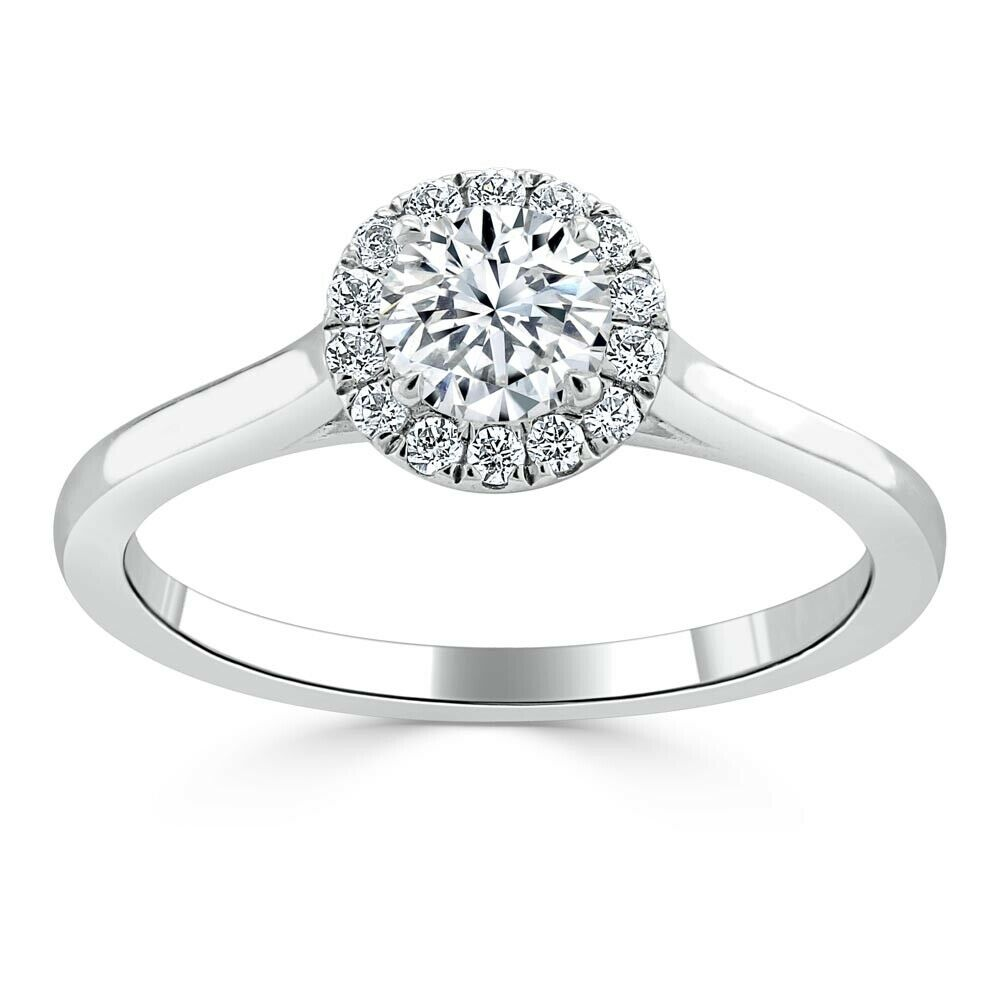 1.35 Ct Round Cut Diamond Wedding Ring 14K Solid White gold Rings Size 6 7 +027