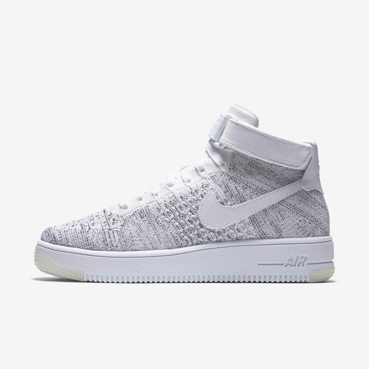 Nike AF1 Flyknit Womens Hi top Trainer Shoe Size 3.5 White Black RRP £115/- 884726396469