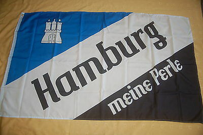 SchöN Hamburg Meine Perle Fussball Blau Weiß Schwarz Flagge 150 X 90 Cm Kataloge Werden Auf Anfrage Verschickt