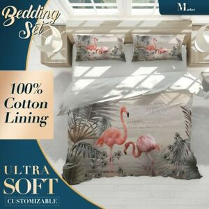 Flamingo Leaves Animals Birds Pink Quilt Cover Queen Size Single Double King