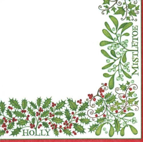 Caspari urinaria blanco Bayas Holly muérdago papel Almuerzo Servilletas paquete de 15