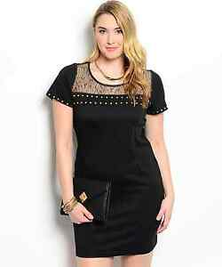 Sexy-Studded-Black-and-Gold-Party-Cruise-Cocktail-Plus-Size-Dress-XL-2XL-or-3XL