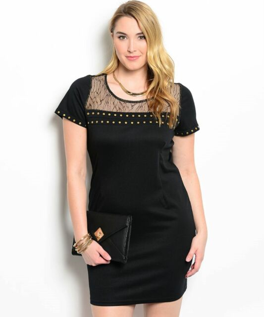 Studded Black And Gold Party Cruise Cocktail Plus Size Dress Xl 2xl