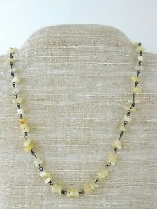Vintage-ME-Signed-Soapstone-and-Silver-Tone-Metal-Strand-Necklace-Cream-White