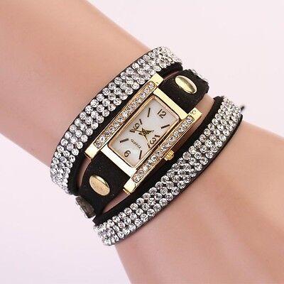 Fashion Women Watch Leather Strap Braided winding Rhinestone Watches Wristwatch