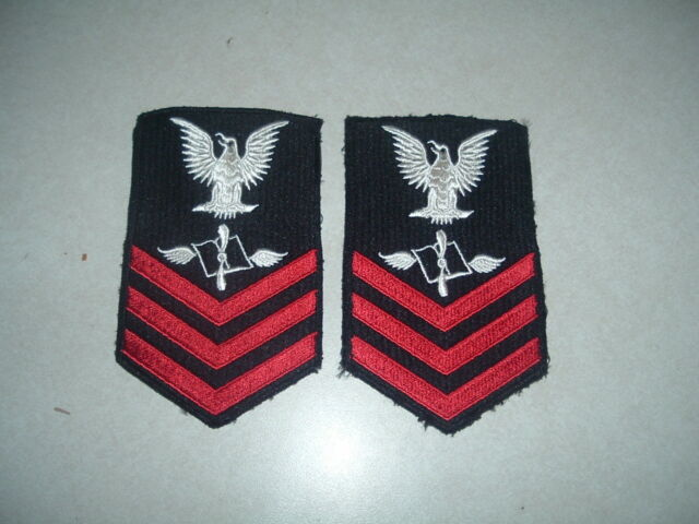 MILITARY PATCH US NAVY RANK SET OF 2 PETTY OFFICER FIRST CLASS AVIATION MAINTENA
