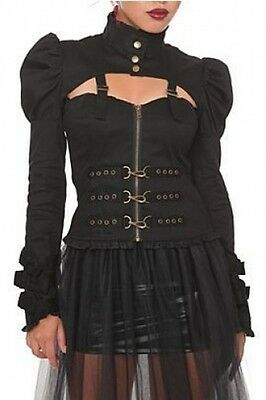 Hell Bunny Black Gothic Victorian Punk Rocker HOT TOPIC Steampunk Jacket LARGE