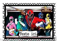 Pancarte Affiche De Porte Plastifié Power Rangers Samurai 01 Avec Prénom