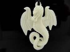 Dragon Hand Carved Water Buffalo Bone White Amulet Pendant Necklace With Cord