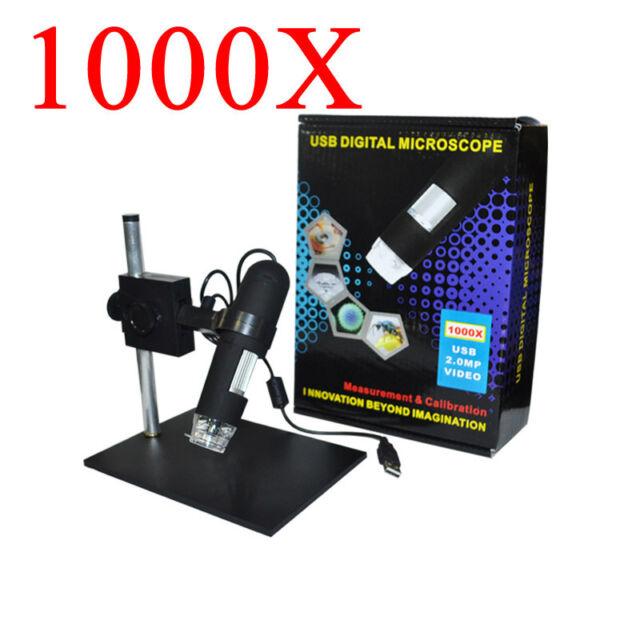 8LED 1000X USB Digital Microscope Electronic Magnifier + Holder Video Camera PC