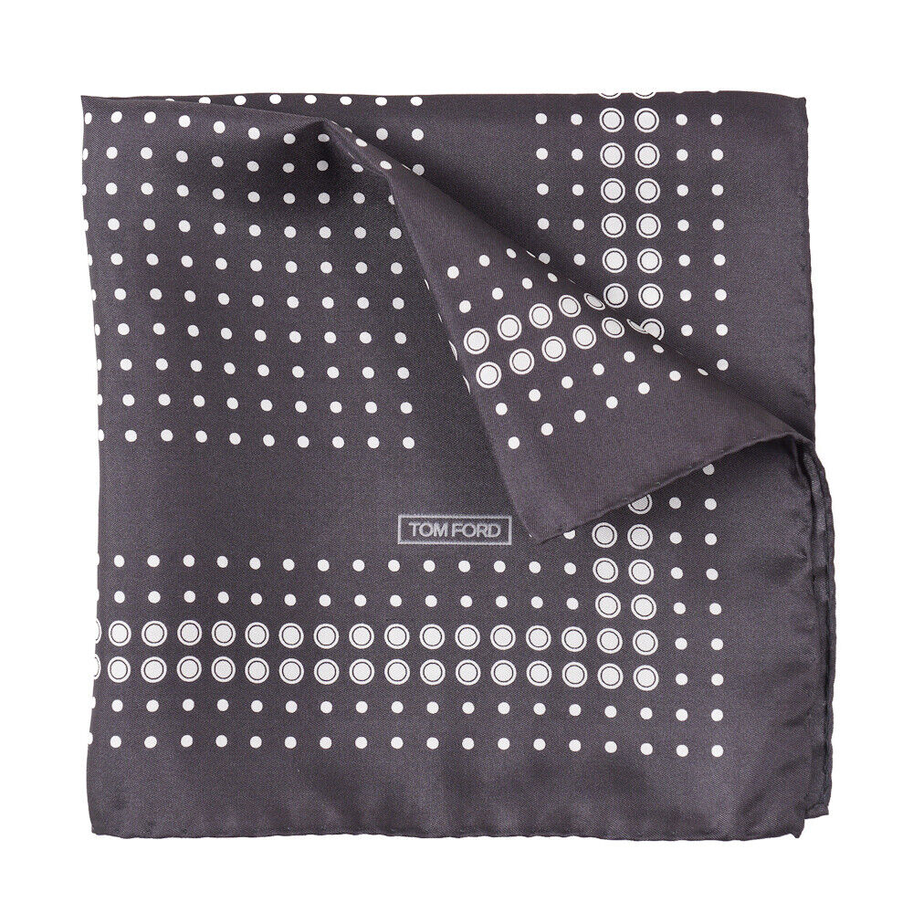 New TOM FORD Charcoal Gray and White Dot Print Silk Pocket Square