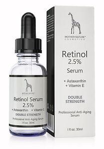 Retinol-Serum-2-5-Anti-Aging-fuer-Gesicht-Haut-gegen-Falten-Akne-Augenringe-30ml