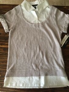 Details About Bcx Girl Silver Sweater Vest With Built In White Collar Shirt L Large Nwt Pretty