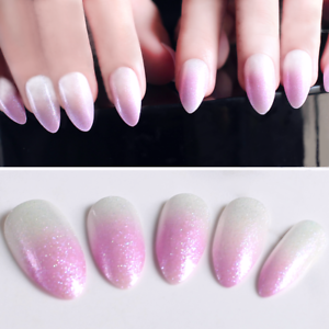 Details about STILETTO HOLO OMBRE *Lavender Pink* Holographic 24 Full Cover  Nail Tips + Glue!