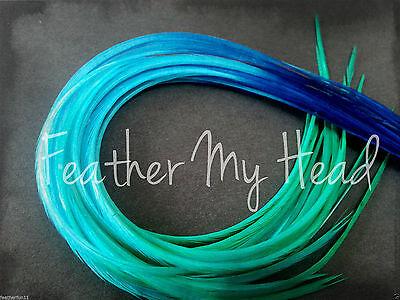 Feather Hair Extensions Medium Length  10 Pc Multi Color Rainbow Fade Premium